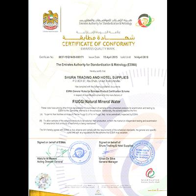 FIUGGI Certificate of Conformity