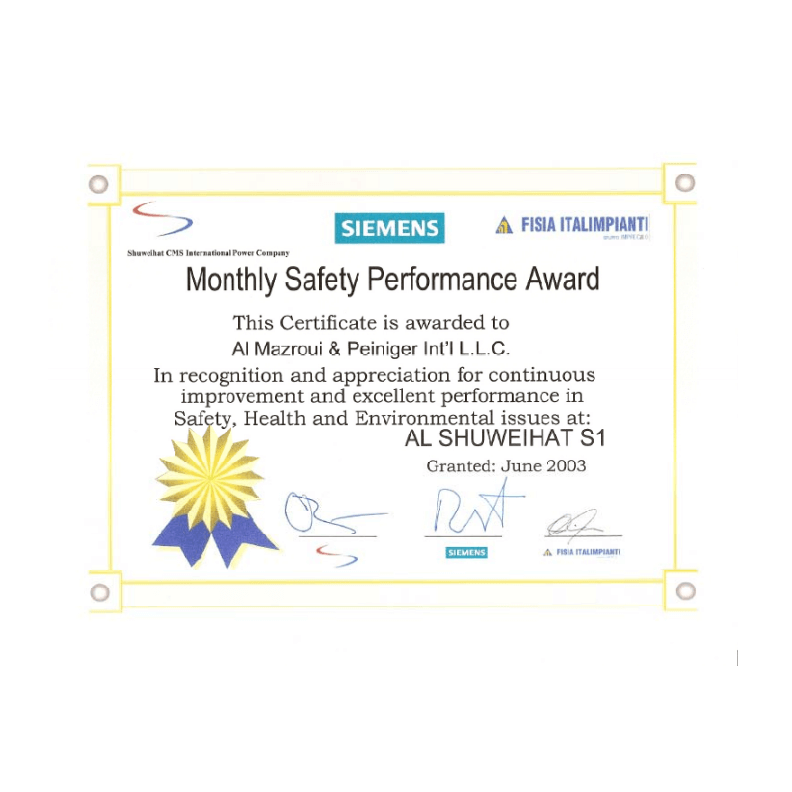 Siemens Monthly Safety Performance Award - June 2003